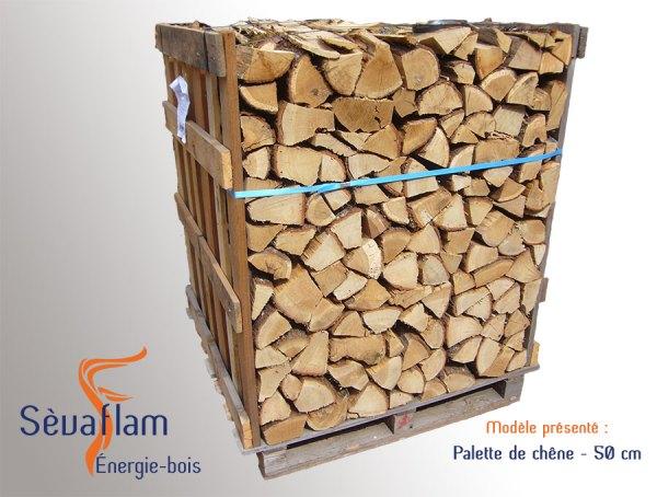 Bois bûche sur palette quartier d'hiver G1 chêne 50 cm | Sèvaflam - Bois de chauffage sur palette
