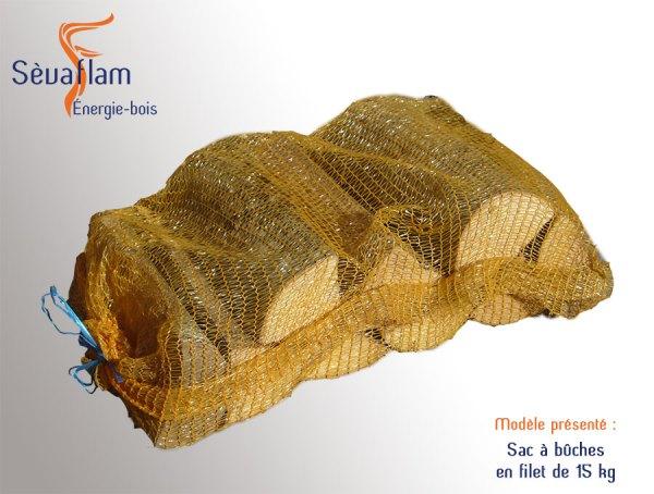 Sac à bûches 15 kg Quartiers 50 - 33 - 25 cm | Sèvaflam - Bois de chauffage