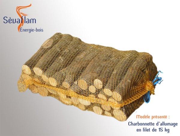 Sac filet charbonnette allumage 15 kg | 50 - 33 - 25 cm - Sèvaflam - Bois de chauffage