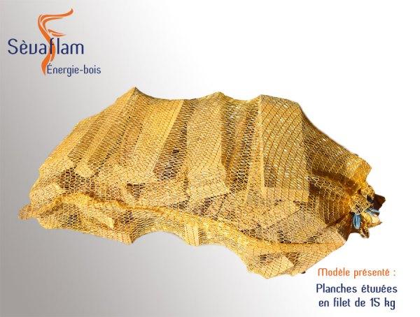 Sac filet planches étuvées 15 kg | 33 - 25 cm - Sèvaflam - Bois de chauffage