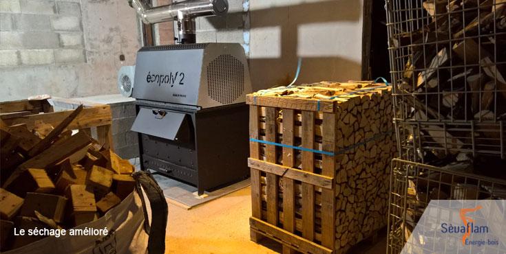Séchage du bois de chauffage sur palette | Sèvaflam