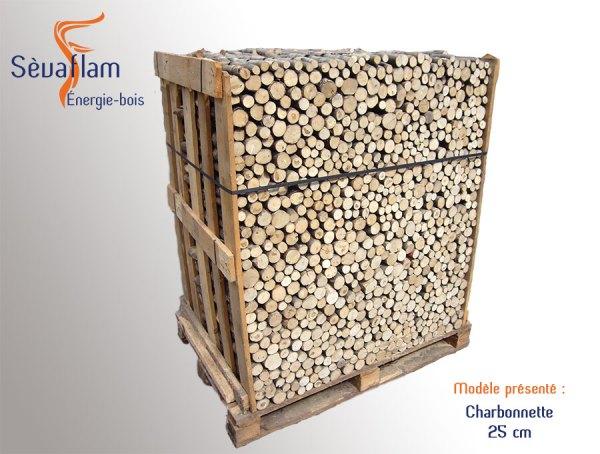 Charbonnette 25 cm palette 1,5 stères | Sèvaflam - Bois de chauffage sur palette