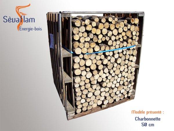 Charbonnette 50 cm palette 1,5 stères | Sèvaflam - Bois de chauffage sur palette