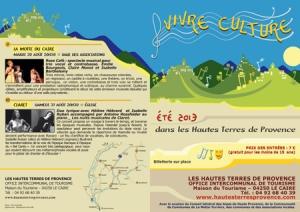 Flyer Vivre Culture_ Hautes Terres de Provence_ 2013