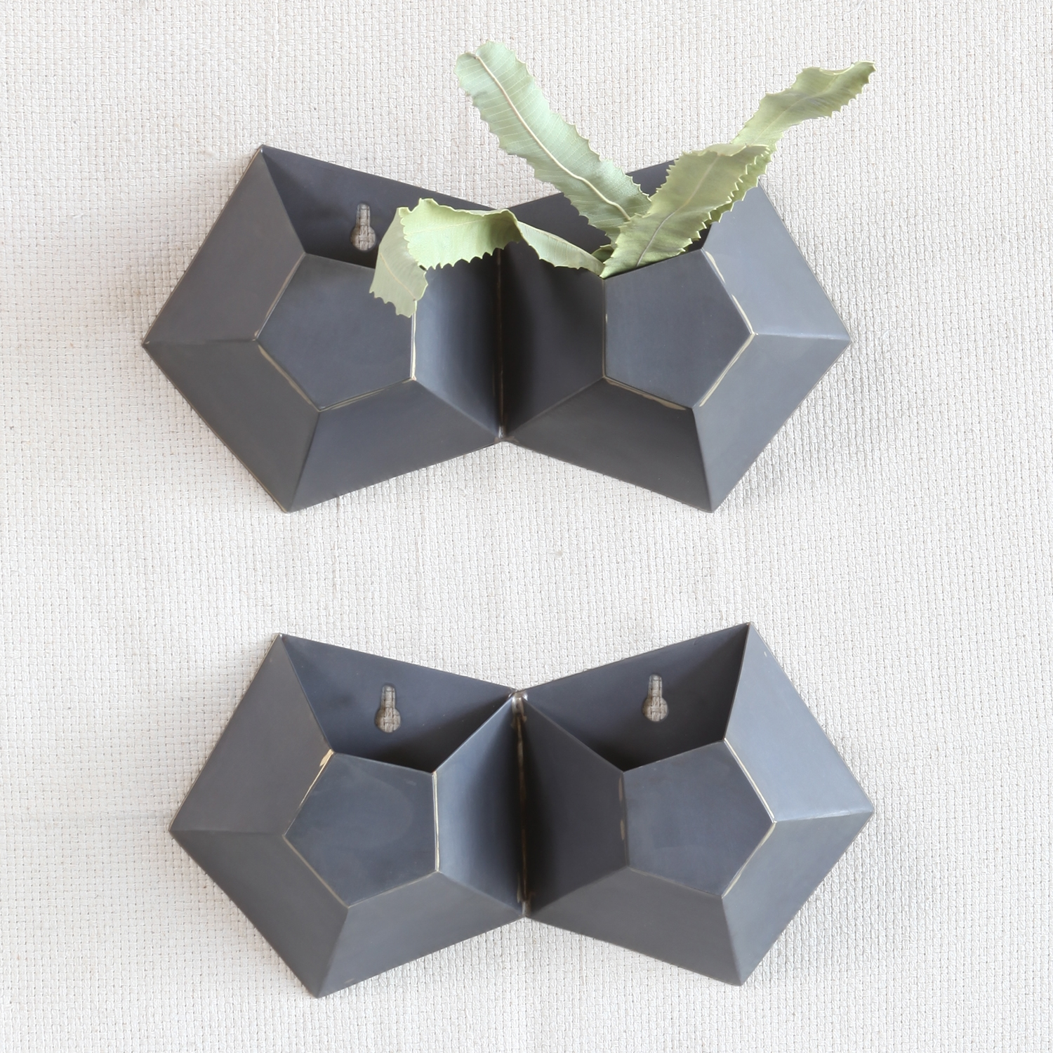 Double Hexagonal Iron Wall Vase by HomArt - Seven Colonial on Iron Wall Vases id=35816