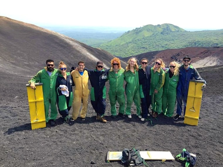 The group before Volcano Boarding in Nicaragua