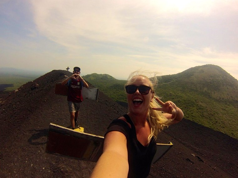 Andy and I posing as we hike up Cerro Negro Volcano in Nicaragua
