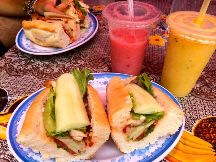 Delicious Baguettes and Juices in Luang Prabang, Laos
