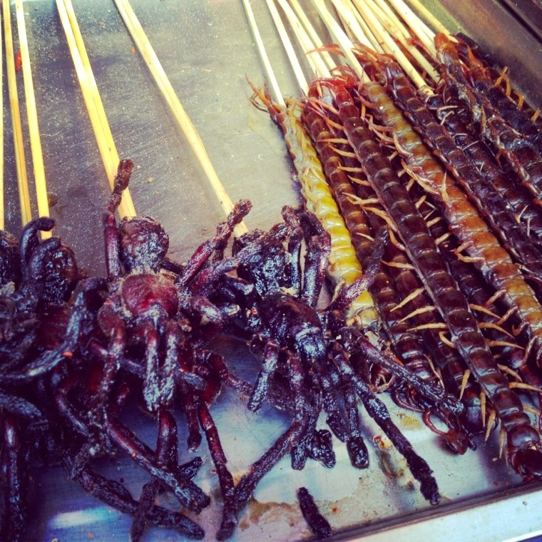 Spiders and Creepy Crawlies for dinner at the Wangfujing Markets, Beijing, China