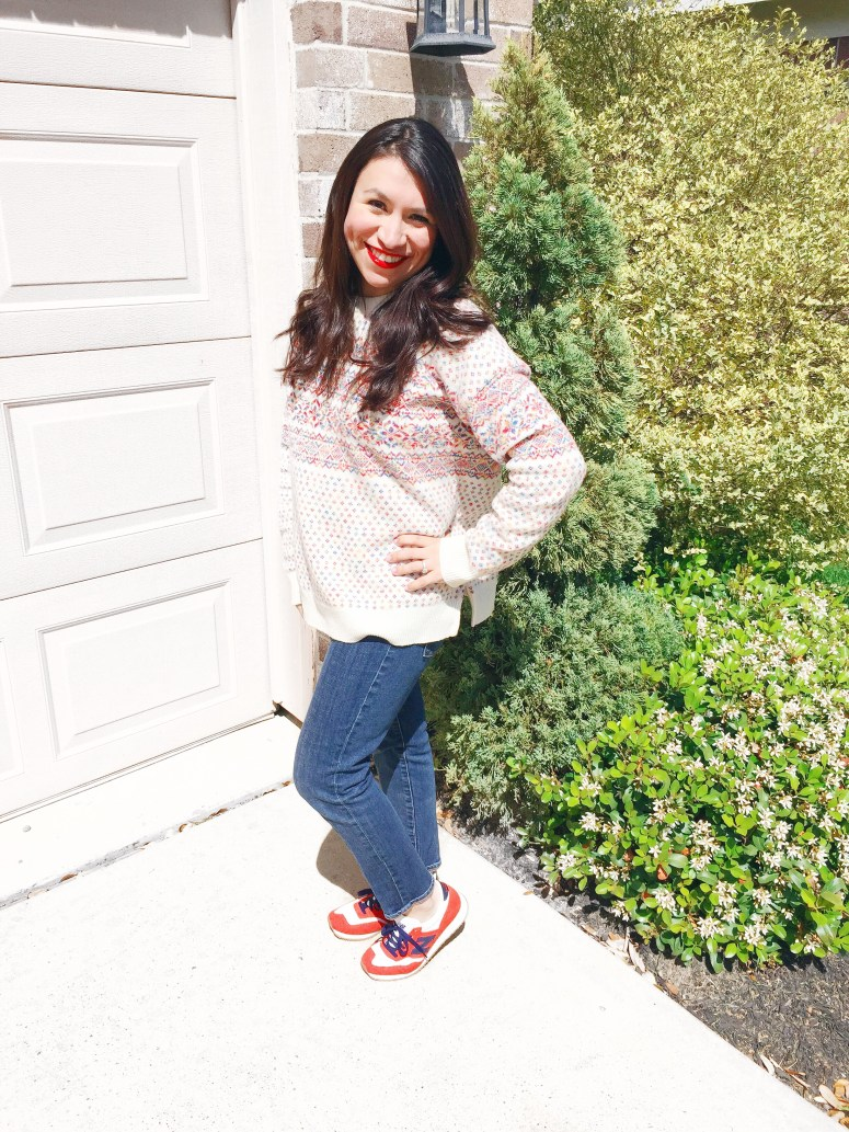 J.Crew Fiesta Sweater styled with tennis shoes