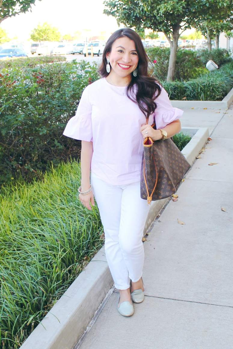 Orchid Bell Sleeve Blouse for a Casual Date Night. This is the perfect spring outfit to add to your wardrobe. Don't miss the rest of the series Moms Do Spring Style.
