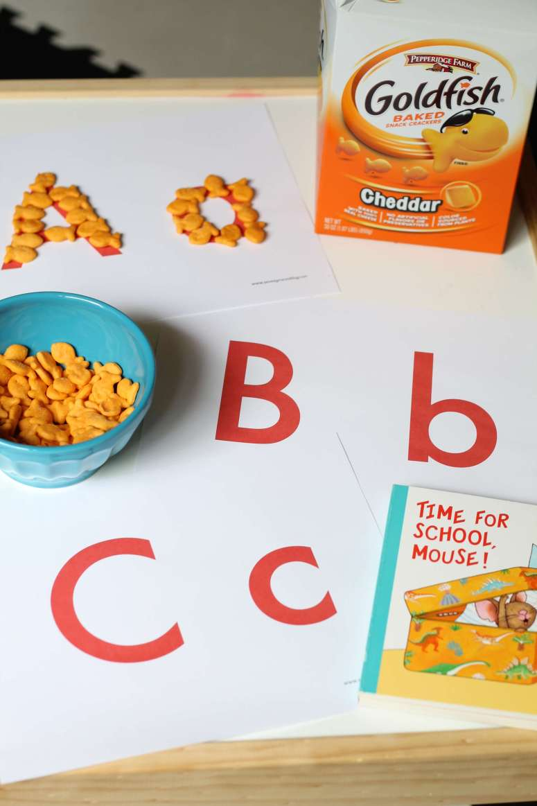 Free alphabet printable for Goldfish letter recognition activity. Perfect for your preschooler!
