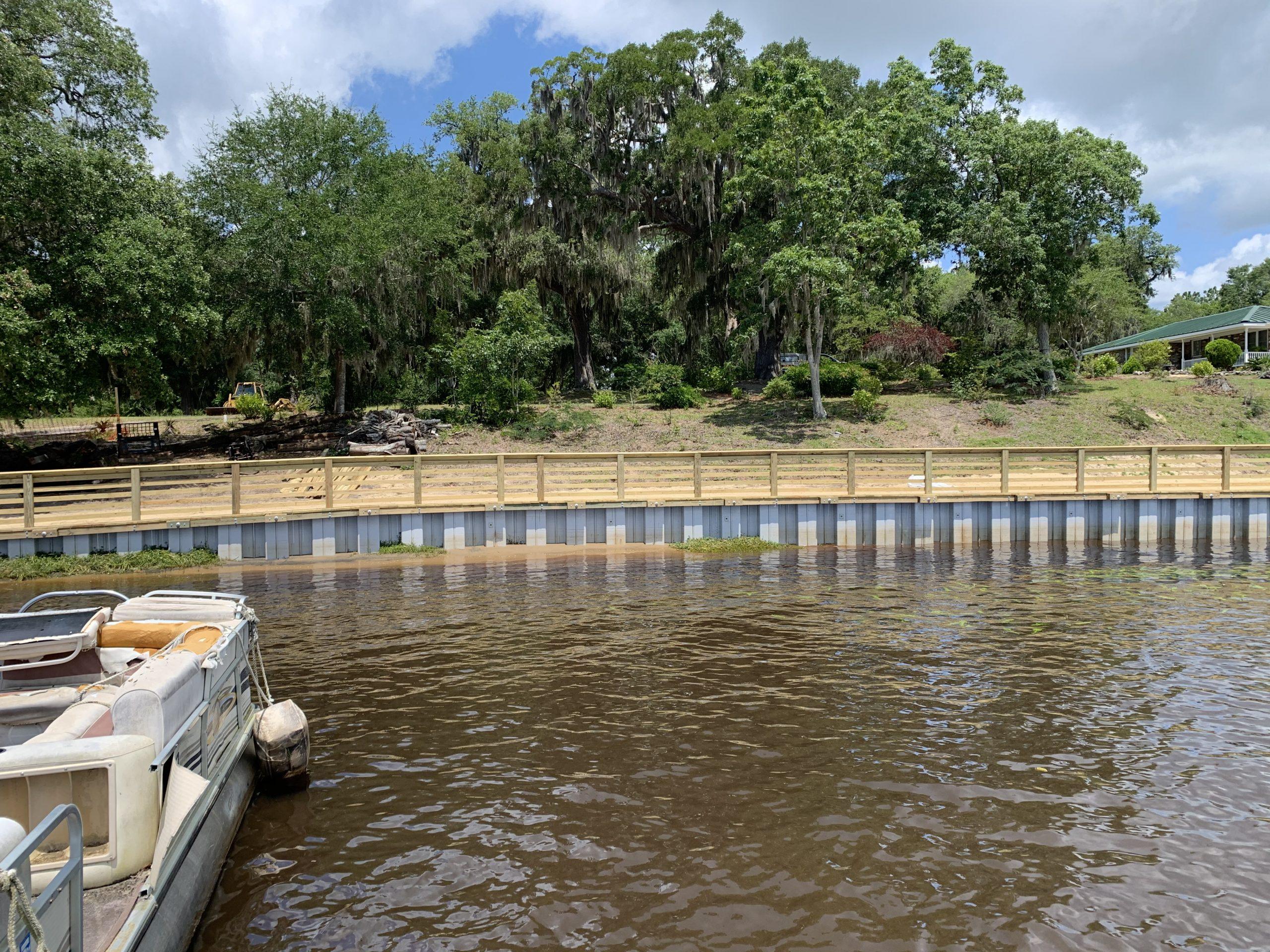 Marine Construction Vinyl Bulkhead Bank Stabilization Seawall Install in Georgetown County Sandy Island