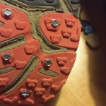 Spiked running shoes: ball of foot detail