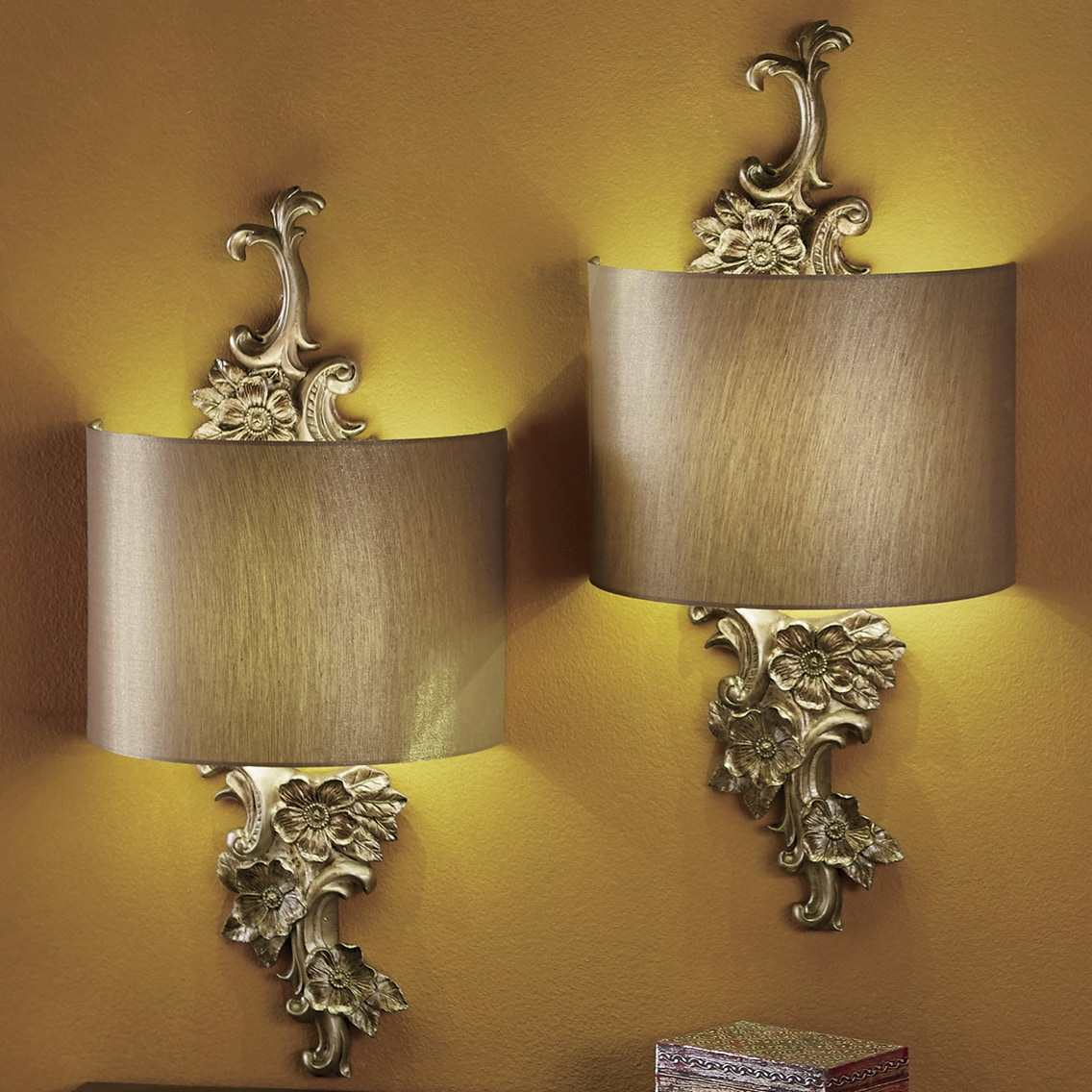 Gold Floral Wireless LED Wall Sconce | Seventh Avenue on Flower Wall Sconces id=15548