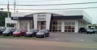 An aluminum and glass storefront installation at a GMC car dealership