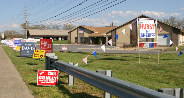 Candidate signs outside the Sevier County Election Commission