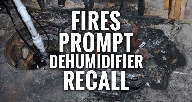 2.5 million dehumidifiers are recalled due to risk of fire and injury.