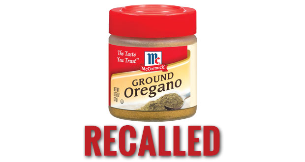 Certain lots of McCormick Ground Oregano recalled.