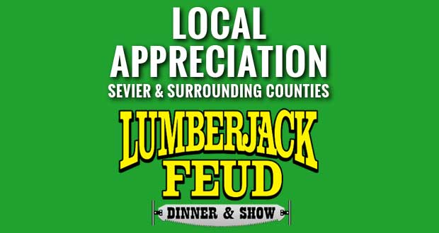 Lumberjack Feud offers Sevier County Days for residents.