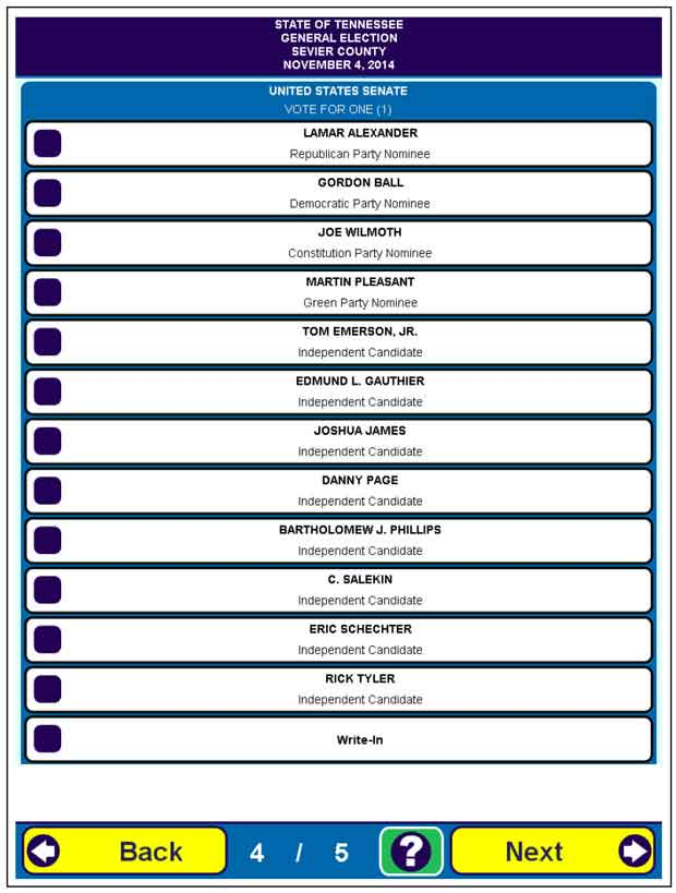 Sevier County Early Voting and Sample Ballot for Nov. 4, 2014