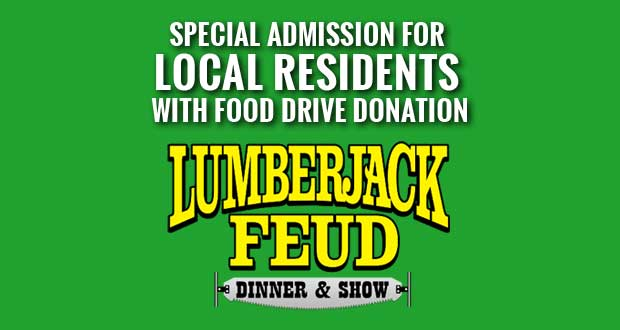 Lumberjack Feud offers Sevier County Days for residents. with donation to food drive