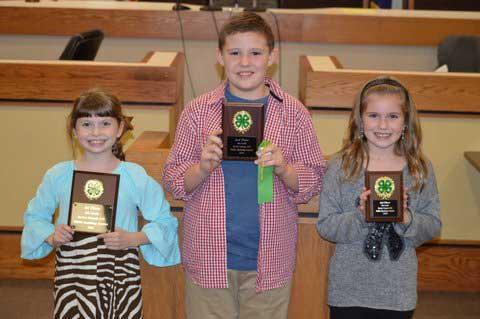 4th grade County 4-H Public Speaking winners from left- Lilly Carroll, 1st place, Sevierville Intermediate School; Tyson McFall, 2nd place, Wearwood Elementary and Natalie Seals, 3rd place, Sevierville Intermediate School.
