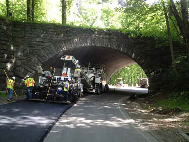 Paving at the Loop-Over Newfound Gap Road in Great Smoky Mountains National Park