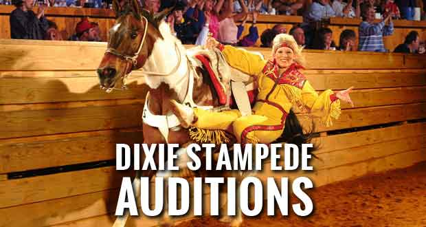 Dolly Parton's Dixie Stampede is holding open call auditions for male and female performers to join their fast-paced production. Auditions will be held on Thursday, May 7, 2015 beginning at 10 a.m.