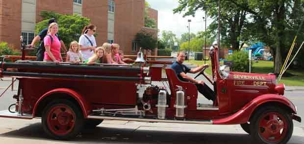 Sevierville Summer Adventure Camp Kids Visit Fire Department