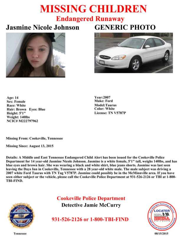An endangered child alert has been issued in middle and east Tennessee for 14 year-old Jasmine Nicole Johnson.