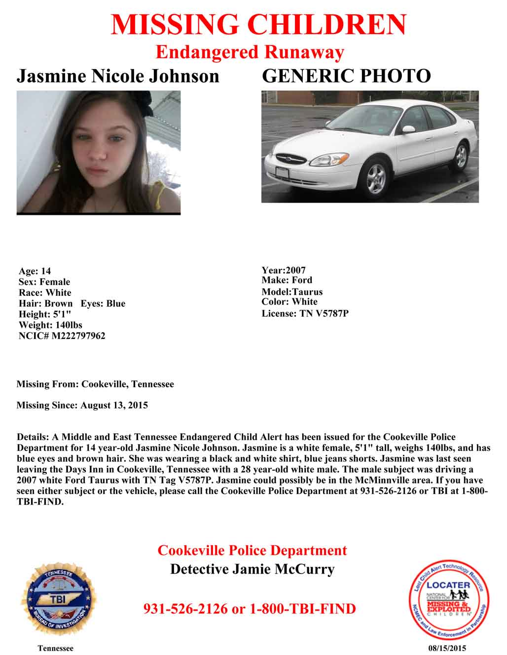 Endangered Child Alert Issued for 14-Year-Old Tennessee Girl