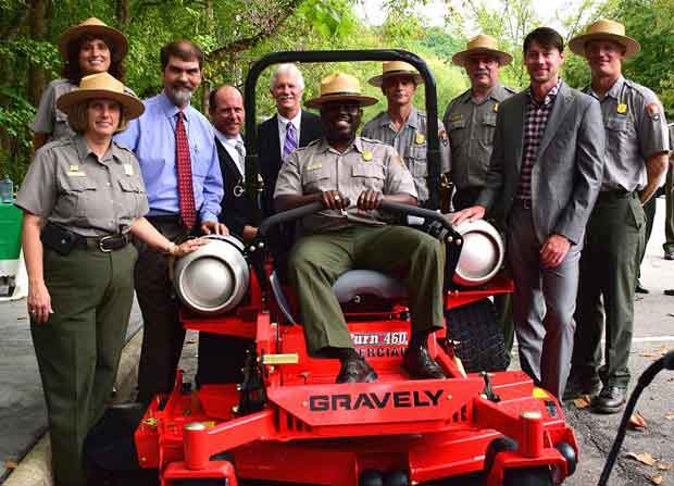 Great Smoky Mountains National Park Superintendent Cash in showing new propane mowers