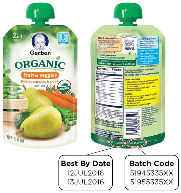 GERBER Organic 2ND FOODS Pouches – Pears, Carrots & Peas