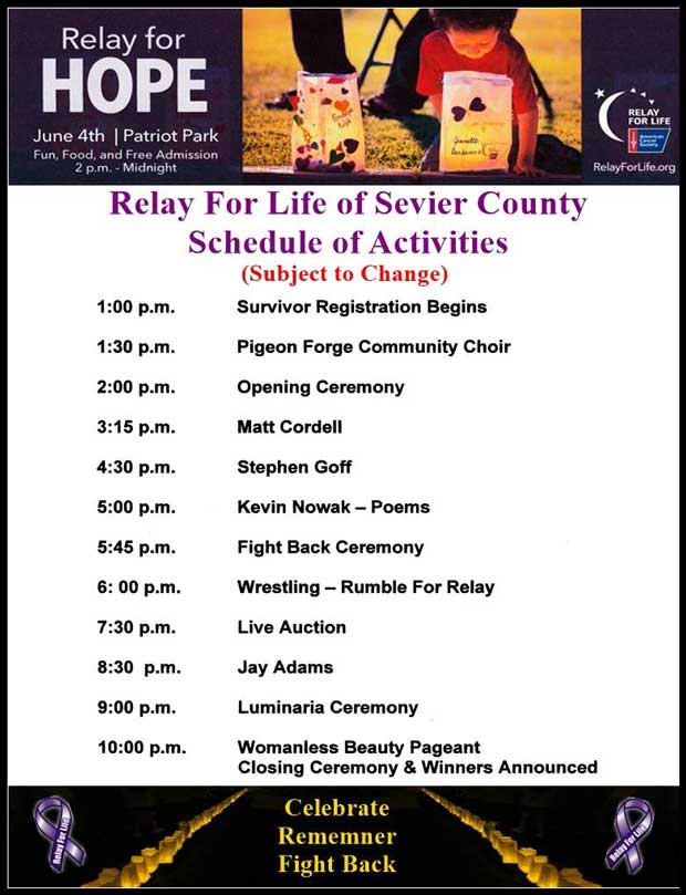 Relay for Life Sevier County Schedule