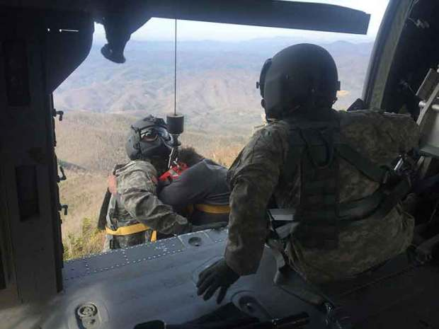 National Guard rescue at Mount Cammerer Tower in Great Smoky Mountains National Park