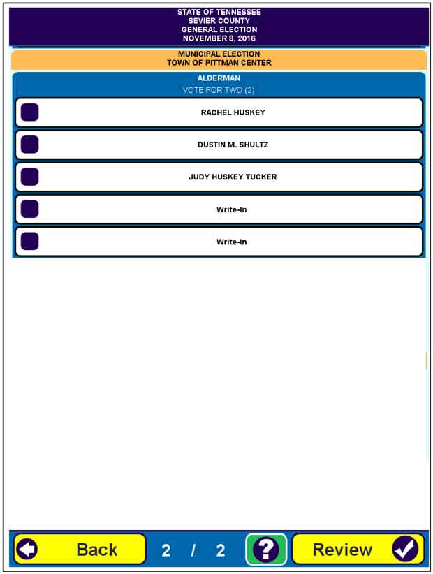 Sevier County Early Voting Information and Sample Ballot for Nov ...