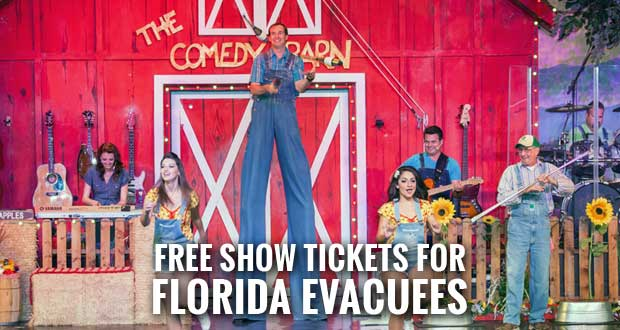 Comedy Barn Offers Free Admission to Hurricane Irma Evacuees from Florida