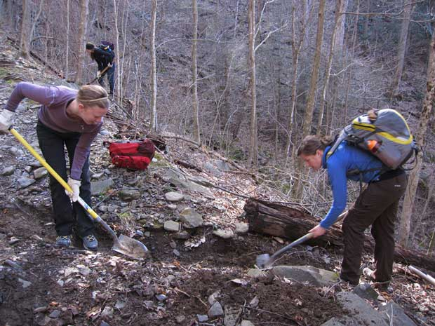 Volunteers performing trail maintenance on National Public Lands Day in the Great Smoky Mountains National Park..
