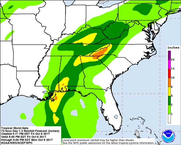 Tropical Storm Nate Rain Forecast