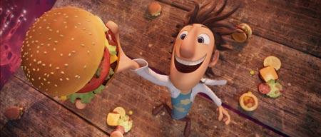 El científico Flint consigue tras varios intentos frustrados que lluevan hamburguesas del cielo