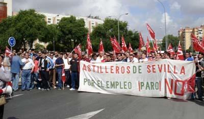 Trabajadores de Astilleros, manifestándose hace unos meses
