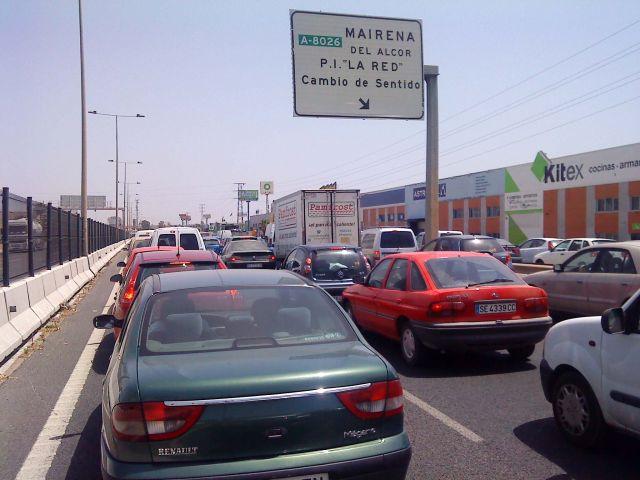 Imagen desde el atasco, en torno a las 15:00 en plena A-92 dirección Málaga/ Christopher Rivas