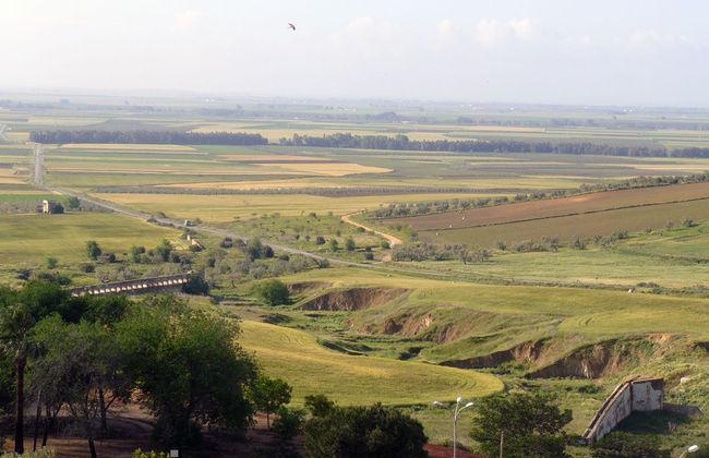 Vista de La Campiña sevillana con los molinos en primer término