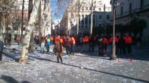 Estado de la Plaza Nueva tras la protesta de los trabajadores de Lipasam / Imagen: Jose J Hernández (@josejohernandez)