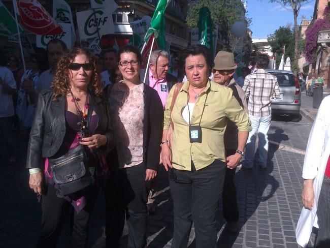 Távora ha estado acompañada por la secretaria local del PA en Sevilla, Lola Dávila y de la vicesecretaria nacional de Comunicación y Portavocía, Marta Mejías/SA