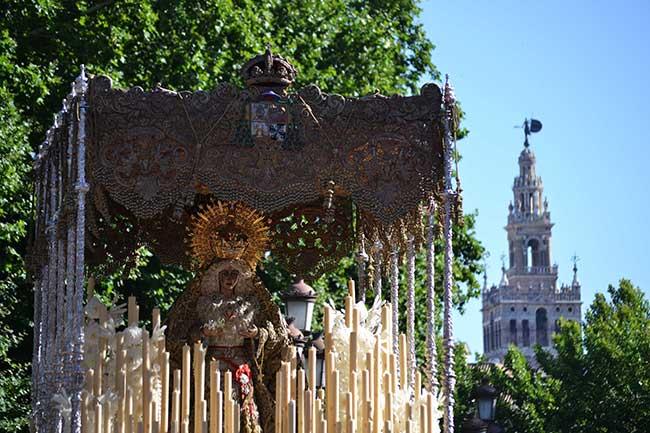 La Macarena dejando atrás La Giralda camino de la Plaza de España/ Álvaro Ceregido
