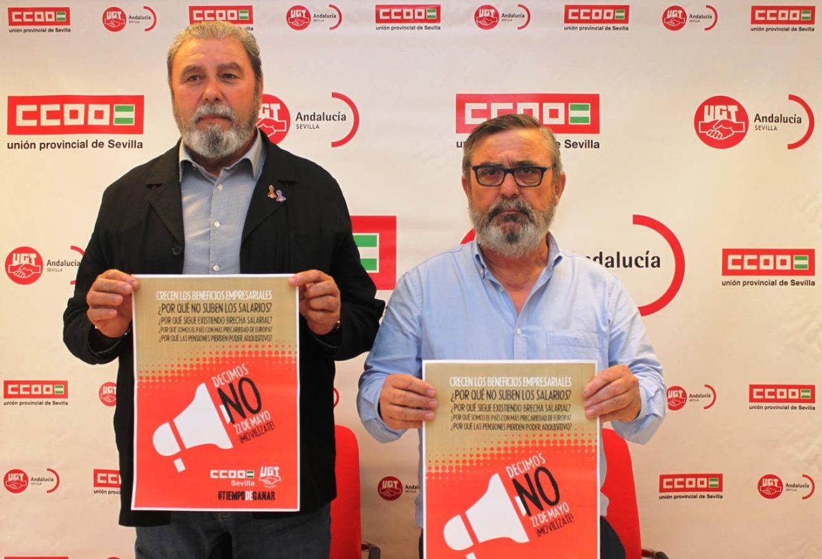 Ginés y Vidán en rueda de prensa /CCOO y UGT