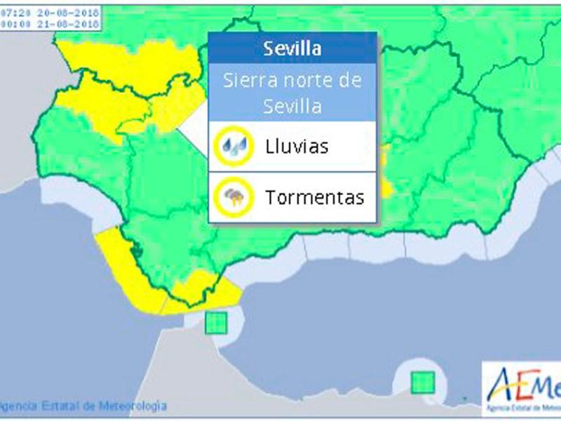 Alerta en la Sierra Norte de Sevilla /AEMET
