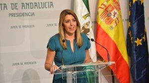 Susana Díaz durante su comparecencia anunciando el adelanto de elecciones /@AndalucíaJunta